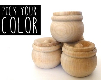 PICK YOUR COLOR: Wood jewelry box, trinket box, round wood box, wood jar, dipped wood, gift under 15, gift for her, secret santa gift