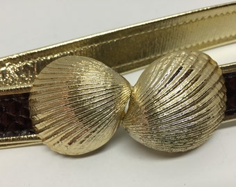 Goldtone Adjustable Reversible Seashell Gilt Belt