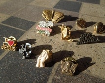 Vintage Religious Pins, Lot of 10.  Christian Pins.  Cross Pins, Jesus Pins.  Sell All or Individual.