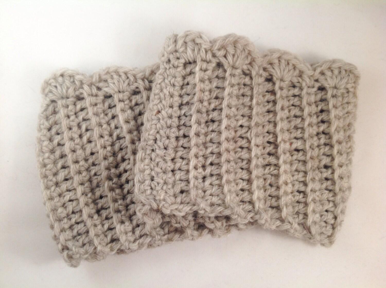 Crochet lana Vieira arranque puños en trigo / Tan