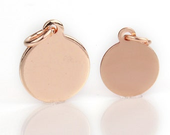 6mm,8mm,10mm, 12mm, Rose Gold Plated Stamping Blank Jewelry Tag, Round Blank Disc Tags Sequins, Pkg of 100 PCS, F0LC.RG04.P100