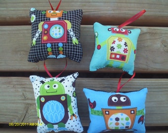 Robot Pillow Ornaments 5- Set of 4