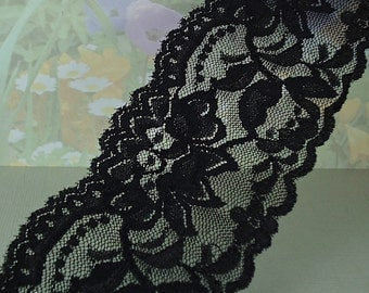 3yds Stretch Lace 2+ inch wide Black Wedding Lace Elastic Ribbon Floral Design Trim Elastic Stretch Lace Headbands Elastic Lace by the yard