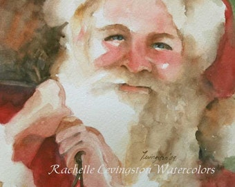 for her Christmas gift for neighbor gift watercolor painting inexpensive under 10 home decor wall art painting santa claus red cheap 5x5