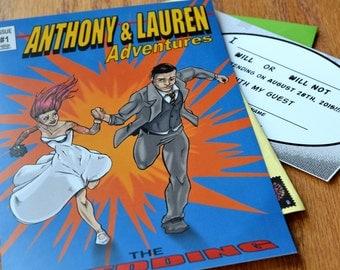 Comic Book Style Hochzeit Einladung Individuelle, Einzigartige, Bestellen  Sie Gemacht
