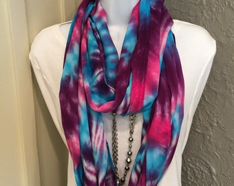Tye dye scarf, hand dyed rayon inifnity scarf, circle scarf, purple, turquoise and hot pink infinity scarf