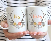 His And Hers or Mr And Mrs Mugs, Set of 2 Mugs, Wedding Couple Mugs, Bride And Groom Mugs, Coffee Cup, Floral Deer Antlers, Spring, UK