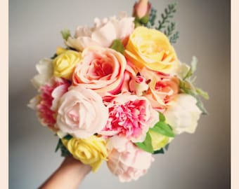 Stunning yellow, peach and pink Peony Bouquet