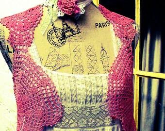 Boho Doily Waistcoat Jacket top with Choker Bracelet Belt Headband Lace Crochet Bustle Tailed Jacket Dusky Rose Vintage