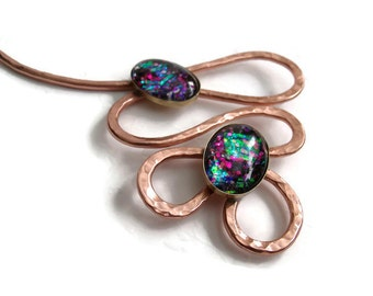 Copper Neck Wire with Designer Opalized Glass Cabochon