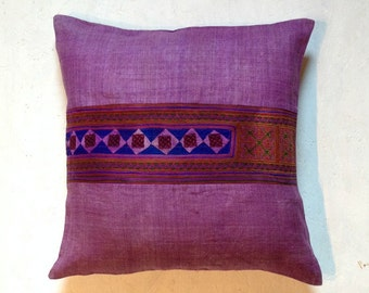 "PURPLE Hmong Traditional Fabric, HEMP handmade FABRIC - 23"" x 23"" inch, Tribal pillow, Accent pillow, Organic pillow, Embroidered pillowcase"