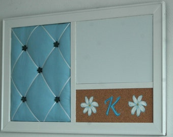 Monogram & Floral Hand Painted Corkboard, Whiteboard, Serenity Blue French  Memo Board Wall Organizer Dorm Decor