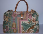 Vintage Claudia Multi Pastel Pink Green Floral Flower Crewel XL Wool Carpet Bag Purse Satchel Dr Speedy Tapestry OOAK