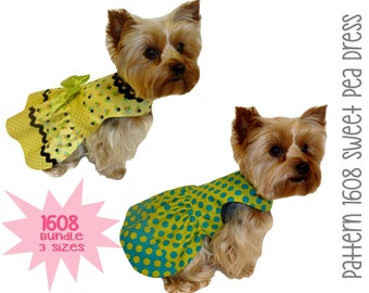Sweet Pea Dog Dress Pattern 1608 * Bundle 3 Sizes * Dog Clothes Pattern * Dog Apparel * Designer Dog Dress * Dog Harness Dress * Pet Dress