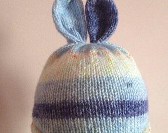 Hand-knitted fairisle bunny ear hat - blue