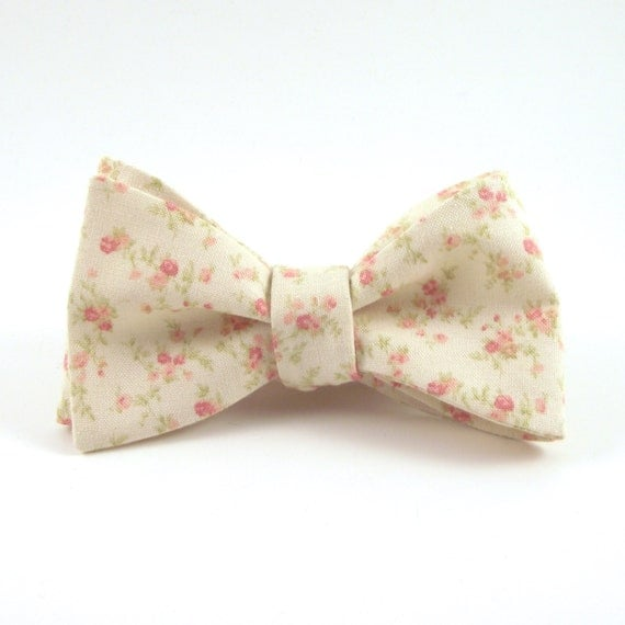 s bow tie ivory and blush pink floral bowtie