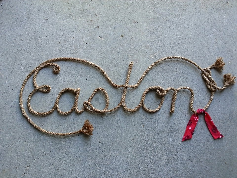 6 LETTER Name Western Rope Art WITH BANDANNA