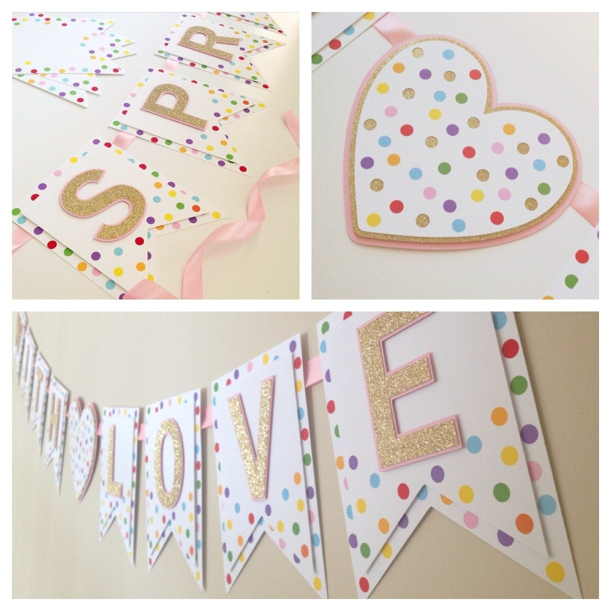 Sprinkled with love banner baby shower banner baby sprinkle Baby shower banners
