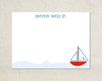 Little boys sailboat flat note cards stationery