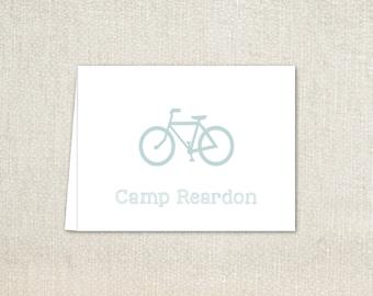 Boys light blue bicycle folded note cards stationery