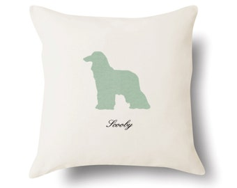 Personalized Afghan Hound Pillow 18x18 - Off White 100% Cotton  - Name or text embroidered - Pet Silhouette - 4 Color Choices