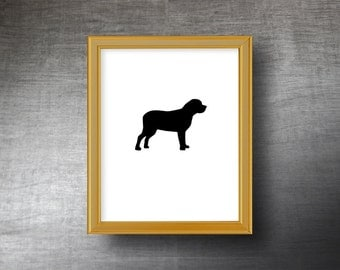 English Mastiff Silhouette Art 8x10 - UNFRAMED Hand Cut English Mastiff Print - Personalized Name or Text Optional