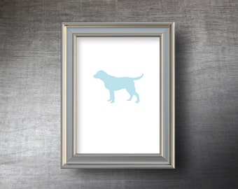Labrador Retriever Print 5x7 - UNFRAMED Hand Cut Labrador Silhouette - 4 Color Choices - Personalized Name or Text Optional