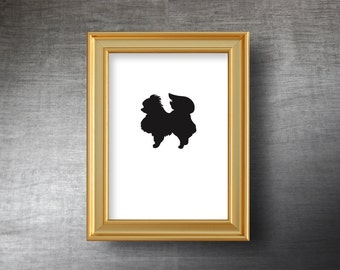 Pomeranian Wall Art 5x7 - UNFRAMED Hand Cut Pomeranian Silhouette Portrait - Personalized Name or Text Optional