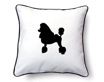 French Poodle Pillow 18x18 - Poodle Silhouette Pillow - Personalized Name or Text Optional