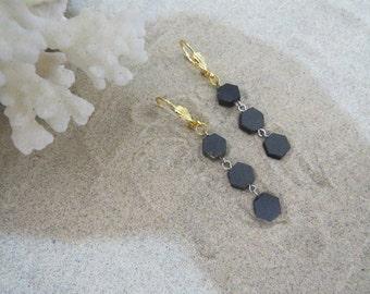 Black Honeycomb Earrings 2...