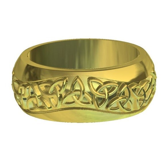 gold celtic wedding ring with knot by celticeternity