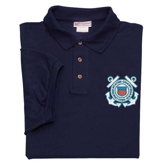 United states coast guard emblem embroidered blue polo golf for Embroidered police polo shirts
