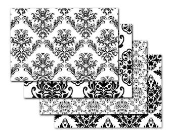 4x6 Envelopes Printable envelope template Digital download printable PDF Wedding envelopes Elegant black and white damask