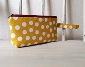 Mustard & White Polka Dot Mini Wristlet