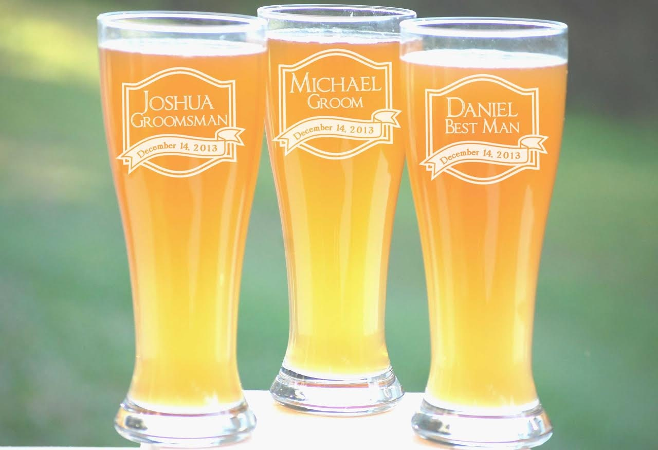 Customized Wedding Beer Glasses : Custom Beer Glasses Wedding Party Favors by UrbanFarmhouseTampa