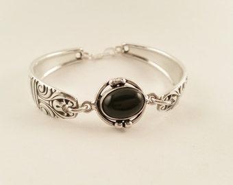 Black Onyx and Silverware Bracelet