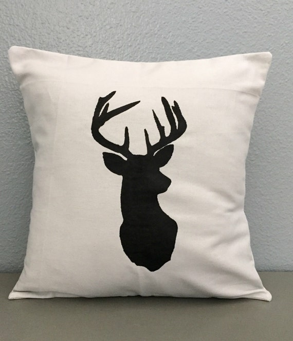 Decorative Pillows Deer : Items similar to Deer pillow. Grey. Gray. Decorative. Pillow. Hand Painted. Deer. Silhouette ...