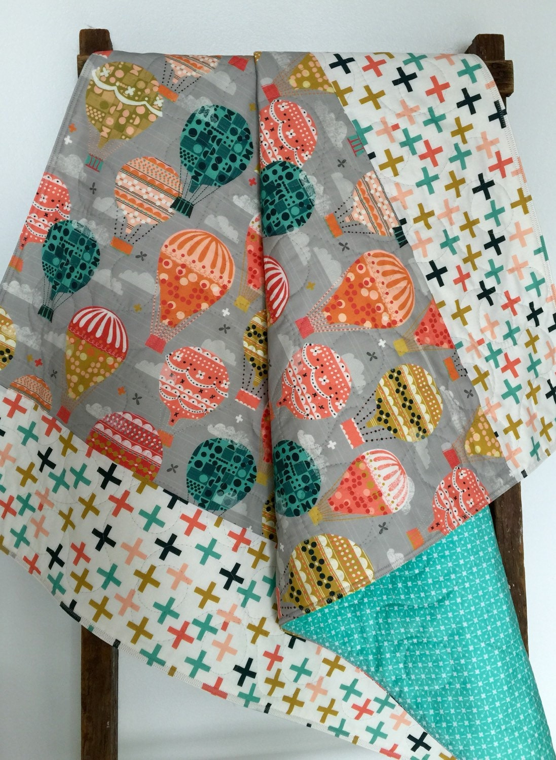 Baby Quilt Gender Neutral Hot Air Balloons Gray Teal