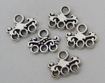 25pcs Chandelier Earring Components, 11x14mm Earring Charms with Three Loops - Charms Hoop Earring Findings