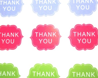 30 'THANK YOU' Stickers in 3 Different Colours - Sticker Size 40mm x 22mm  (UK Based)
