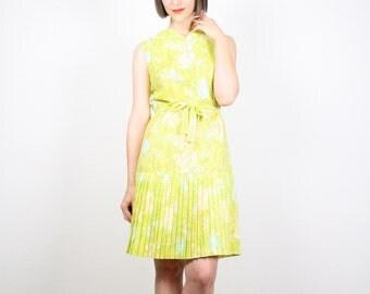 Vintage 60s Dress 1960s Dress Yellow Green Floral Print Sundress Drop Waisted Pleated Skirt Mini Dress Mod Dress Mad Men Dress S Small M Med