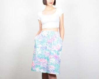 Vintage 1980s Skirt Pastel Floral Print Midi Skirt 80s Skirt High Waisted Skirt Knee Length Skirt New Wave Impressionist M Medium L Large