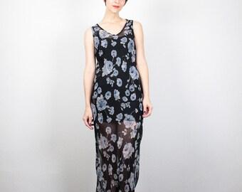 Vintage 90s Dress SHEER Black Blue Floral Print Maxi Dress Soft Grunge Dress 1990s Dress Hipster Ditsy Floral Boho Sundress S Small M Medium