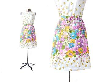 Floral Dress, Cotton Dress, 1960s Dress, Floral Print Dress,, Vintage Dress, White Dress, 60s Dress, Vintage Clothing, Small