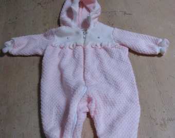 Vintage Newborn Pretty in Pink Sleeper.  Zip up front; hood, frills, acrylic/cotton mix.