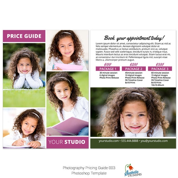 Photography Price List | Price Guide 003 Photoshop Template for Professional Photographers
