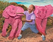 "Running with Hope and Joy 9"" x 5.5"" Print of two pink elephants."