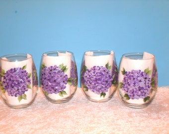 stemless HYDRANGEA WINE GLASSES, set of four