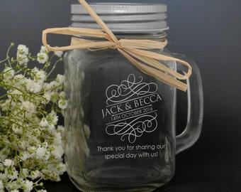1 x Personalised Engraved 400ml Mason Jar Glass Mug Gift Favour