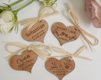 "25 X Engraved Wooden ""Heart"" Wedding Gift Tags"